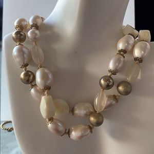 Monet vintage glass baroque pearl & bead necklace